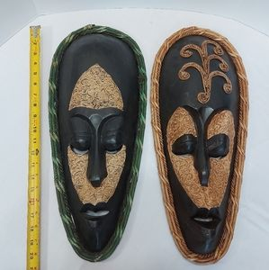 2 Large Hand Carved Wood, Rope Indonesian Wall Decor Masks, black